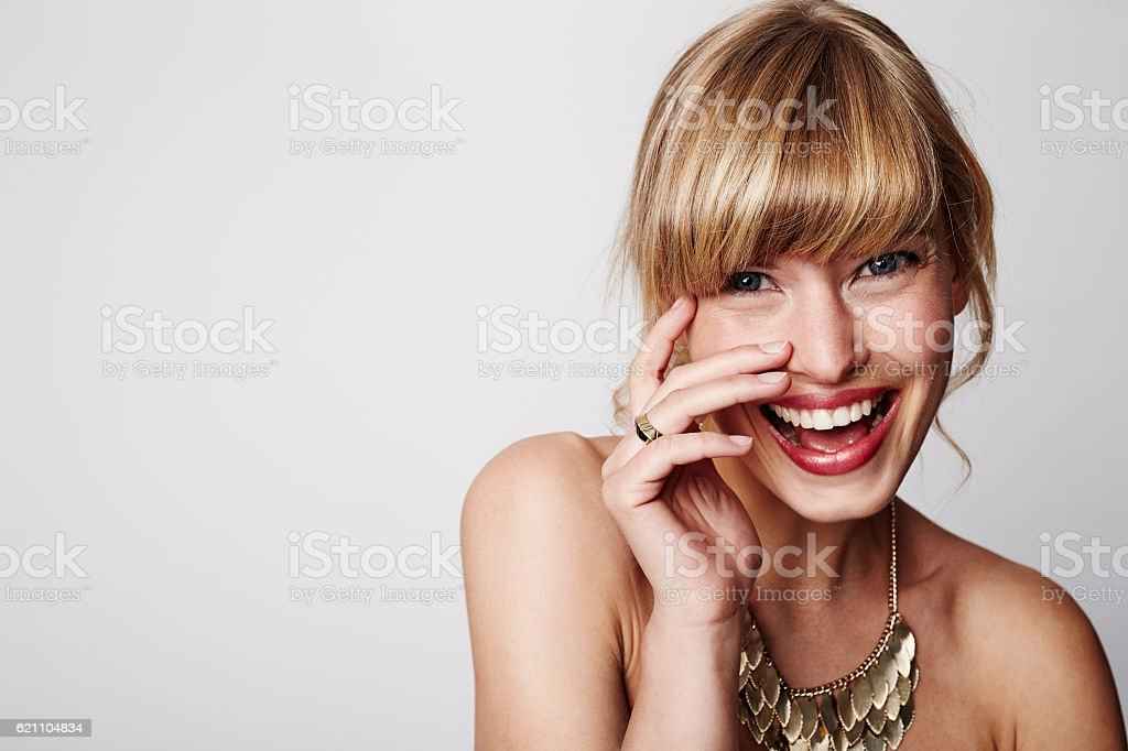 Laughing bride with wedding ring, portrait stock photo