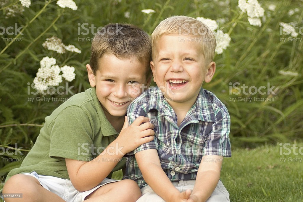 Laughing Brothers royalty-free stock photo