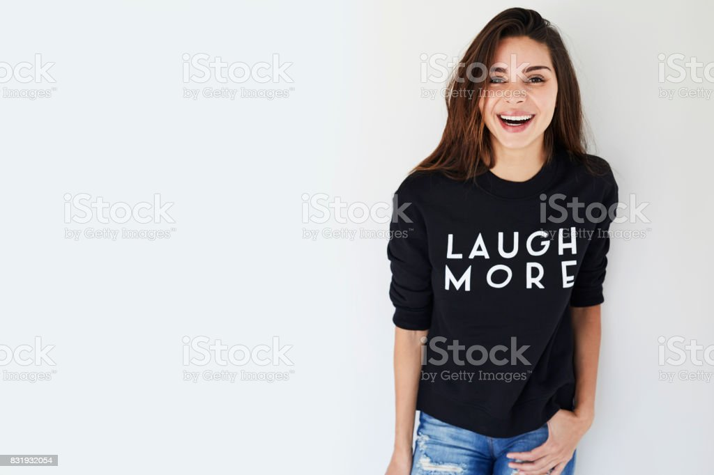 Laughing brunette stock photo