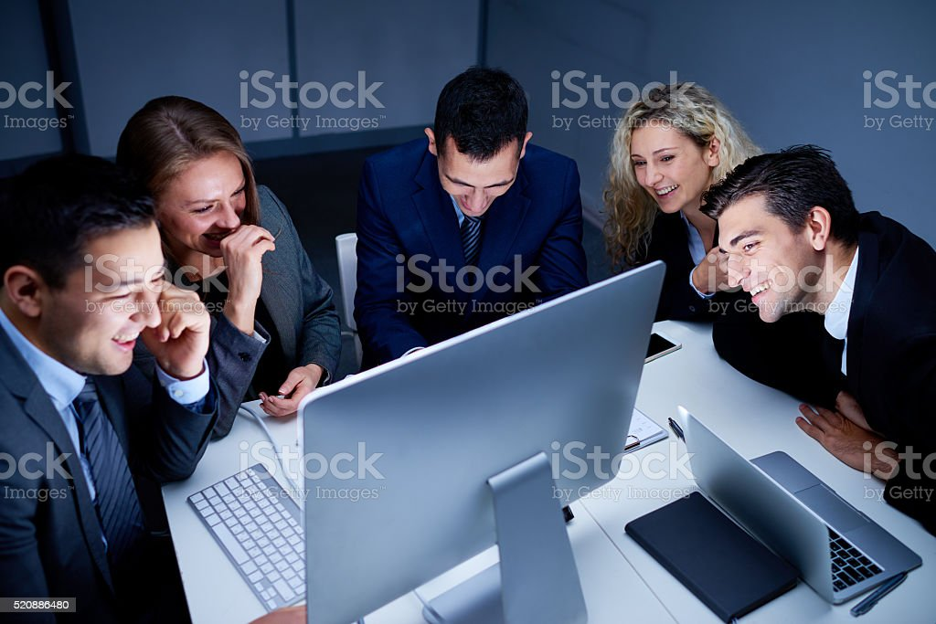 Laughing business team stock photo