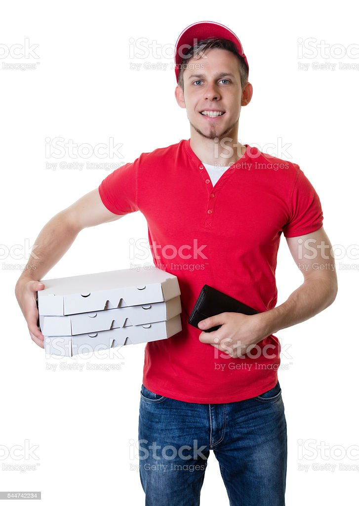 Laughing caucasian pizza delivery guy stock photo