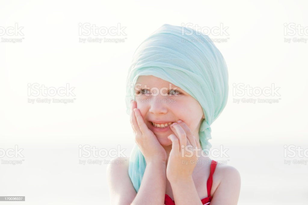 Laughing Chemo Girl At The Beach royalty-free stock photo