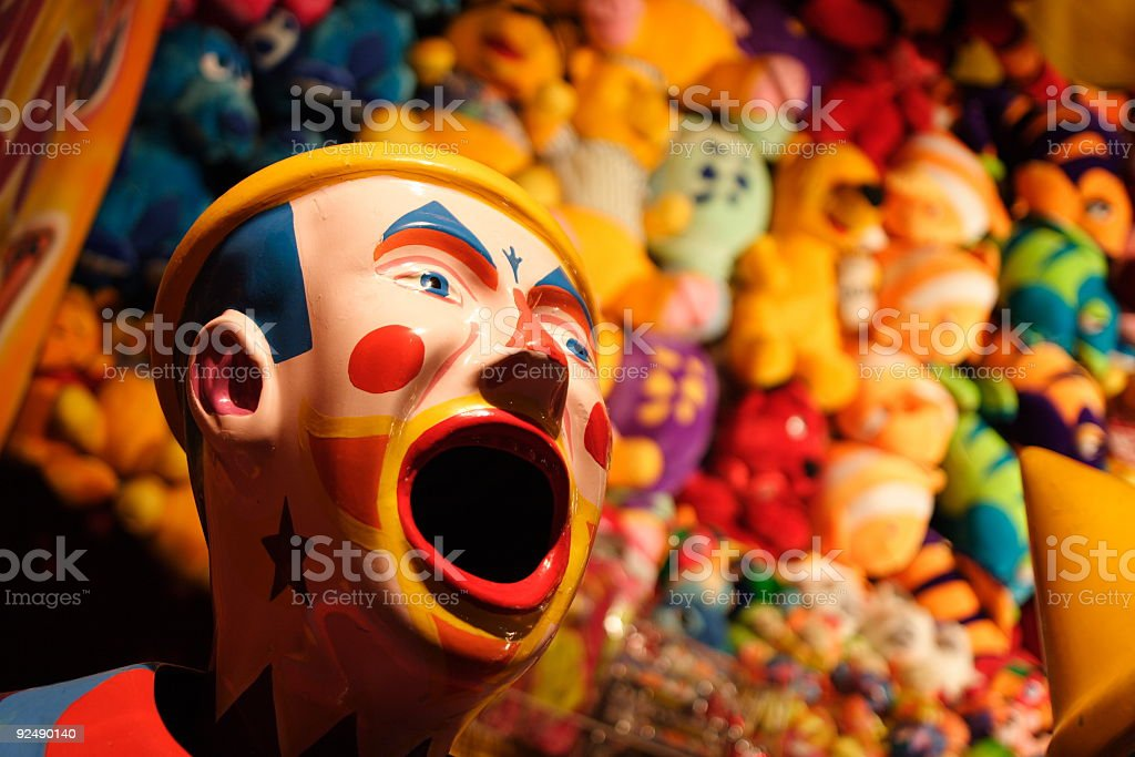 Laughing clown game at county fair type event royalty-free stock photo