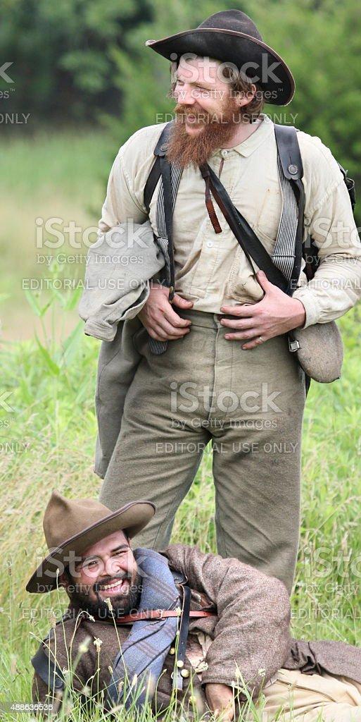 laughing Confederates stock photo