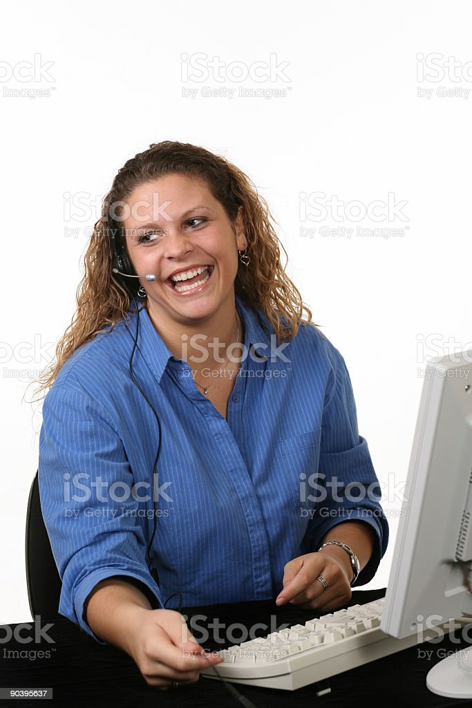 Laughing Customer Support royalty-free stock photo