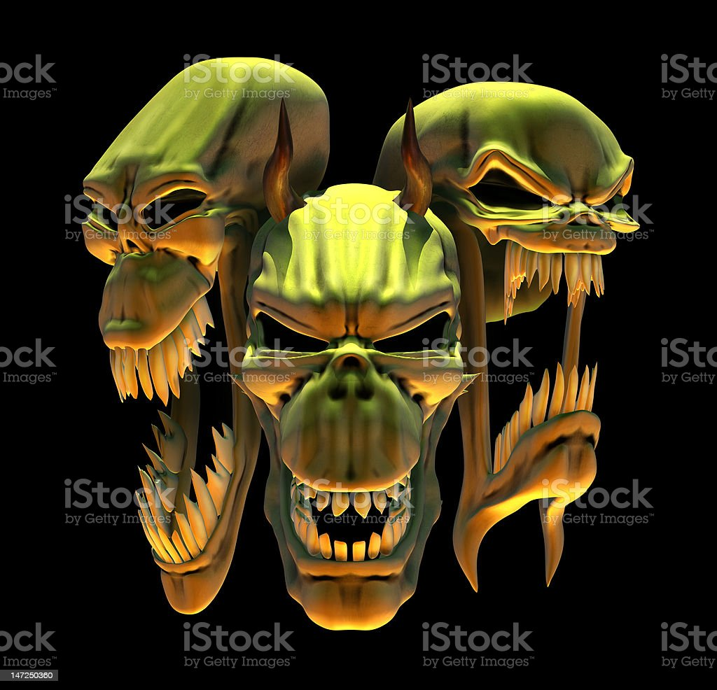 Laughing Demon Skulls royalty-free stock photo