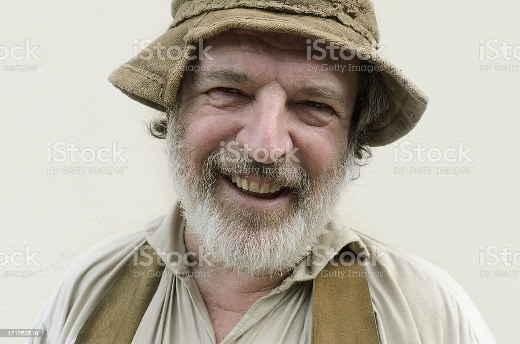 laughing farmer with hat stock photo
