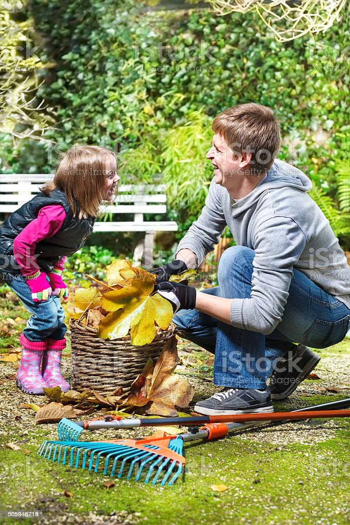 Laughing father and daughter stock photo