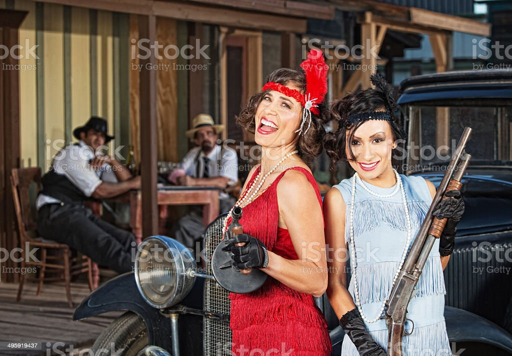 Laughing Female Gangsters stock photo