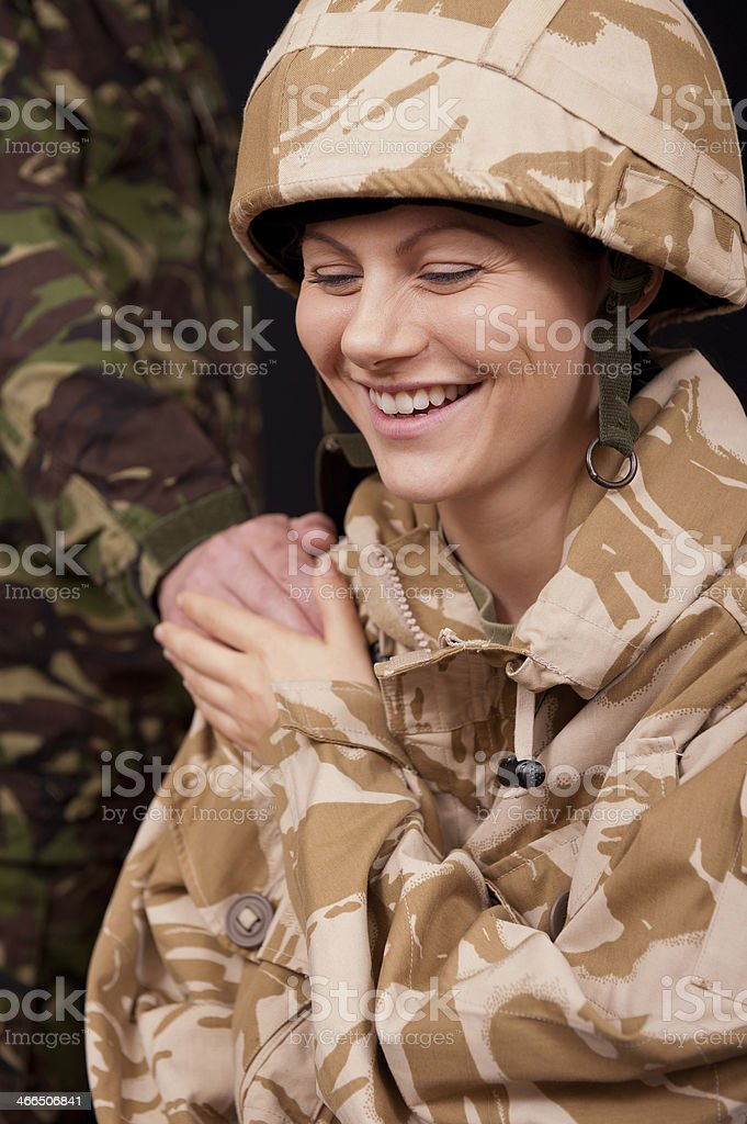 Laughing Female Soldier stock photo