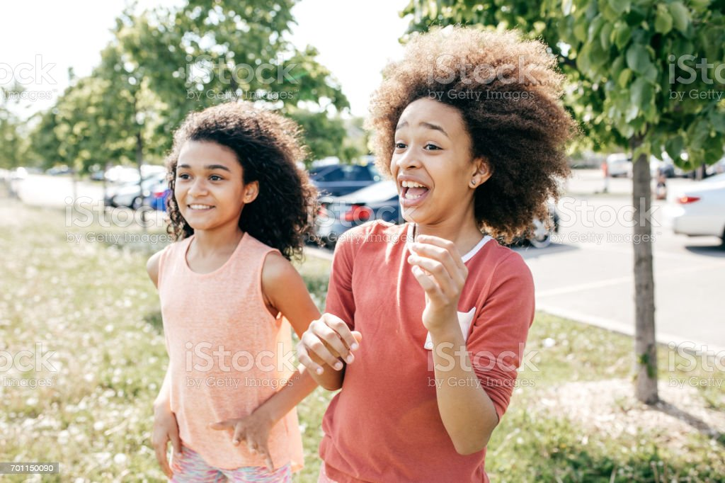 Laughing friends stock photo