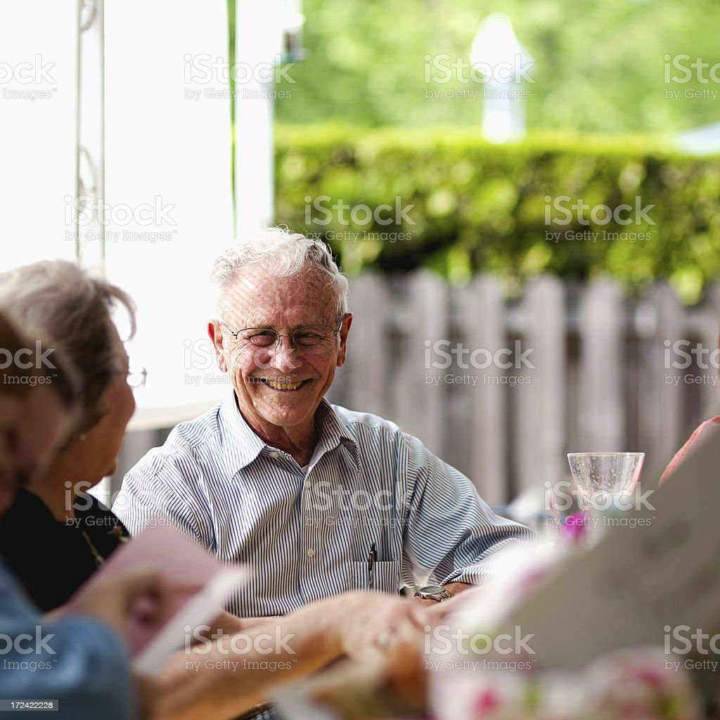 Laughing Fun and Happy Cute Elderly Couple stock photo