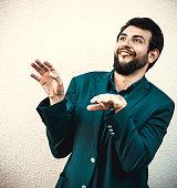 Laughing Funny businessman make grimace like ape