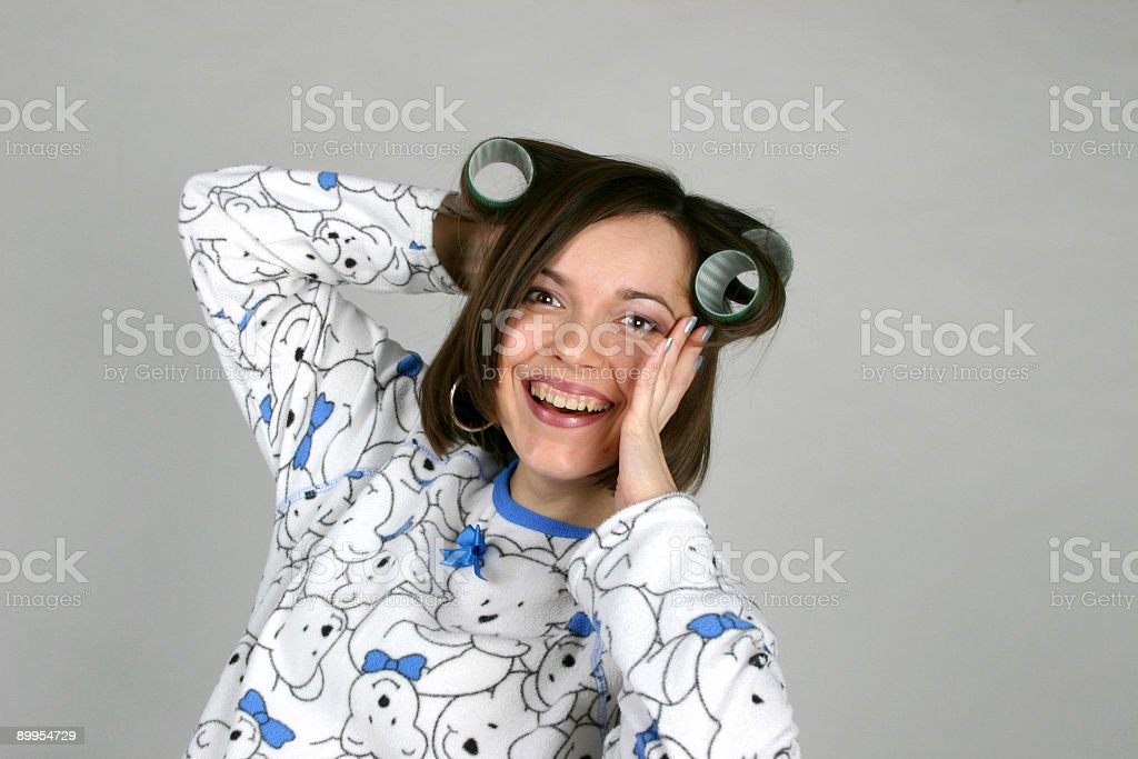 laughing girl dressed in pajamas royalty-free stock photo
