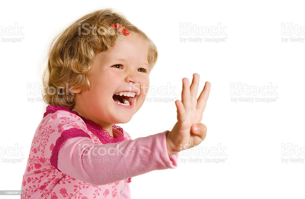 Laughing girl in rose dress stock photo