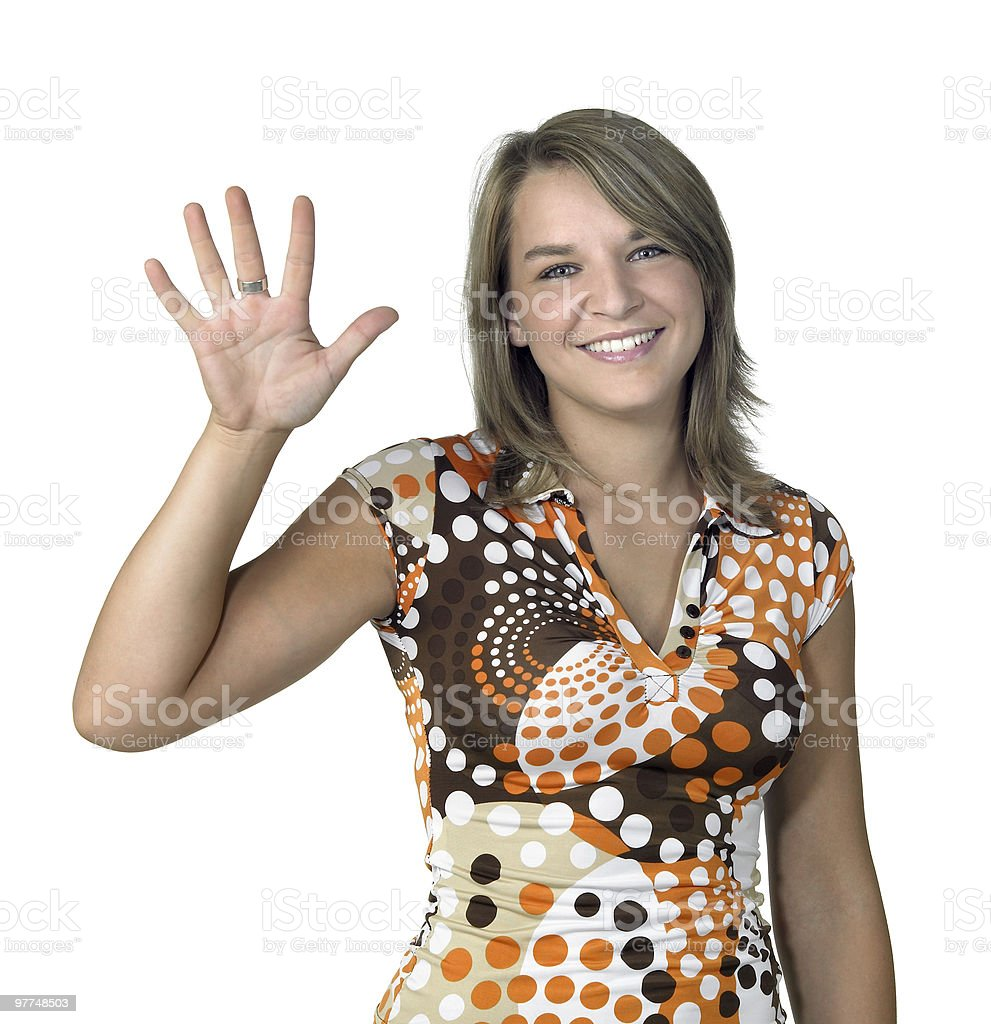 laughing girl showing open hand stock photo