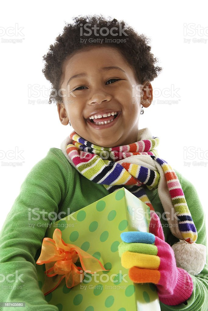 Laughing girl   with Christmas gift stock photo