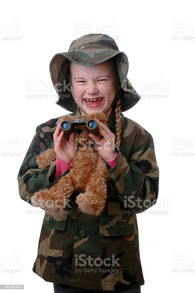 Laughing Girl with Teddy Bear stock photo