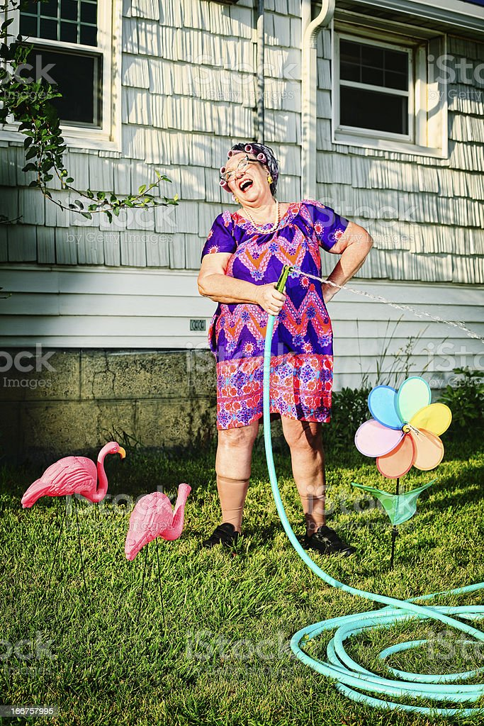 Laughing Granny Watering the Lawn stock photo