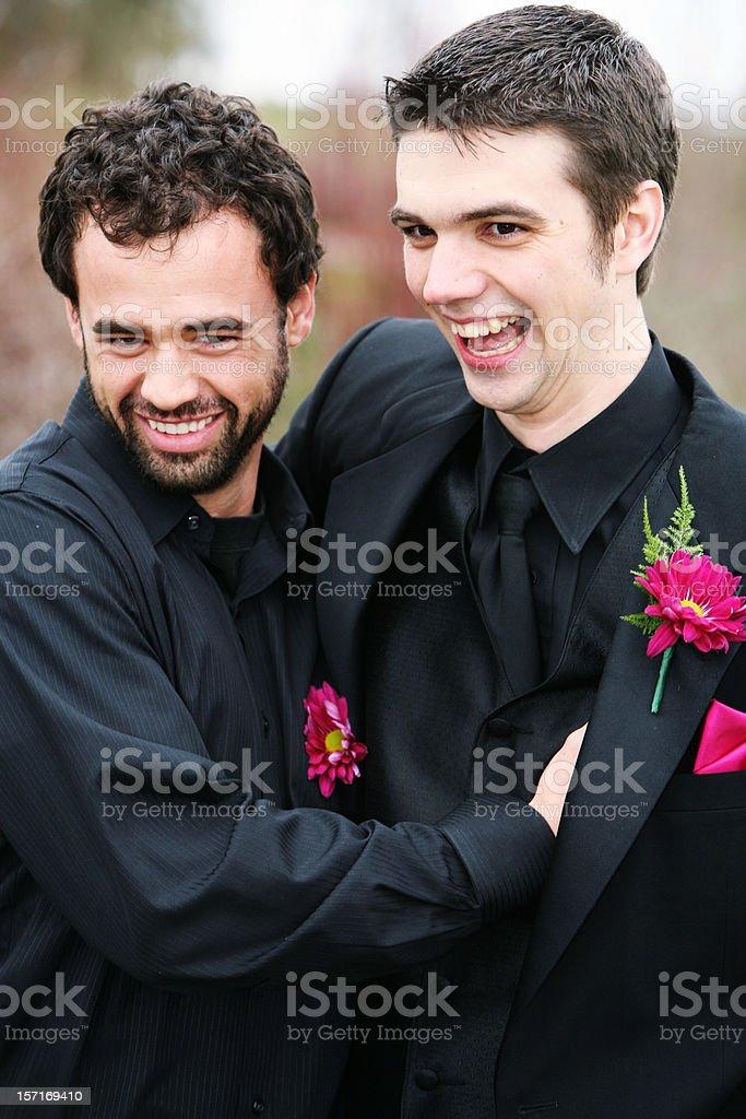 Laughing Groomsmen. stock photo