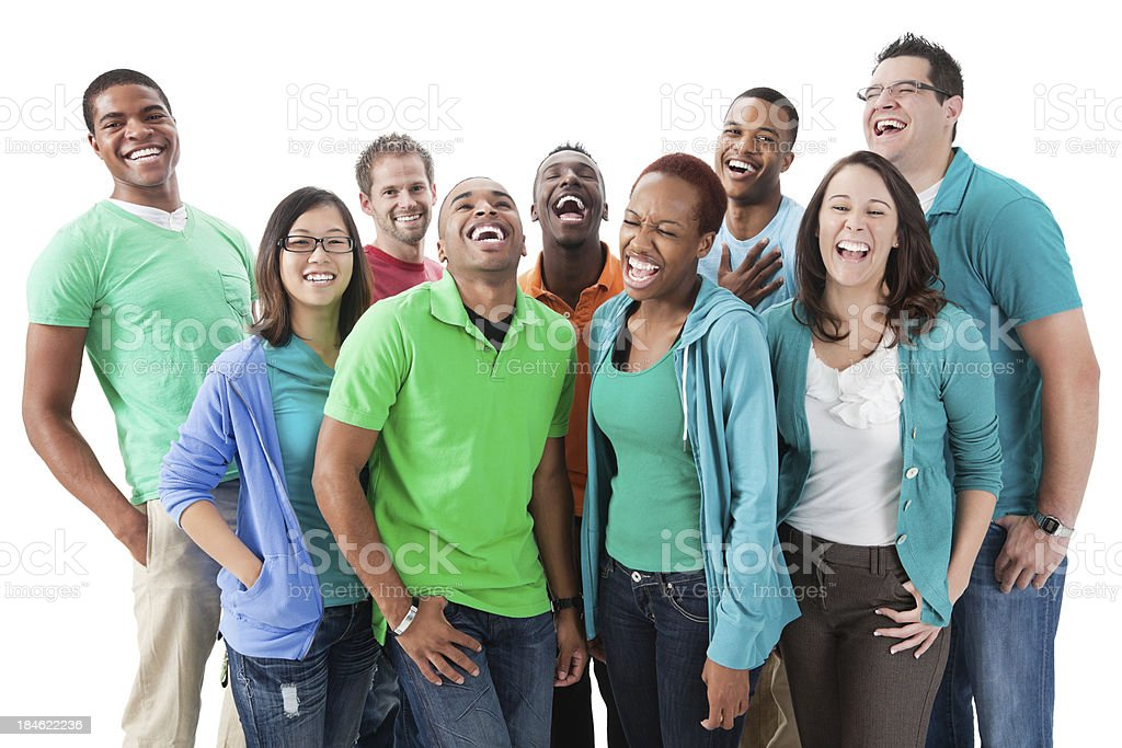 Laughing group of diverse young adults on white background royalty-free stock photo