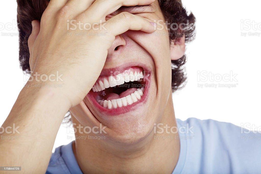 Laughing guy closeup stock photo