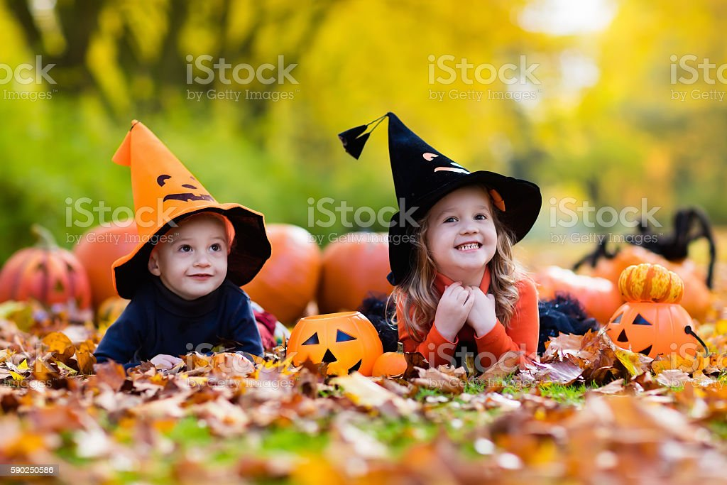 Laughing kids with pumpkins on Halloween stock photo