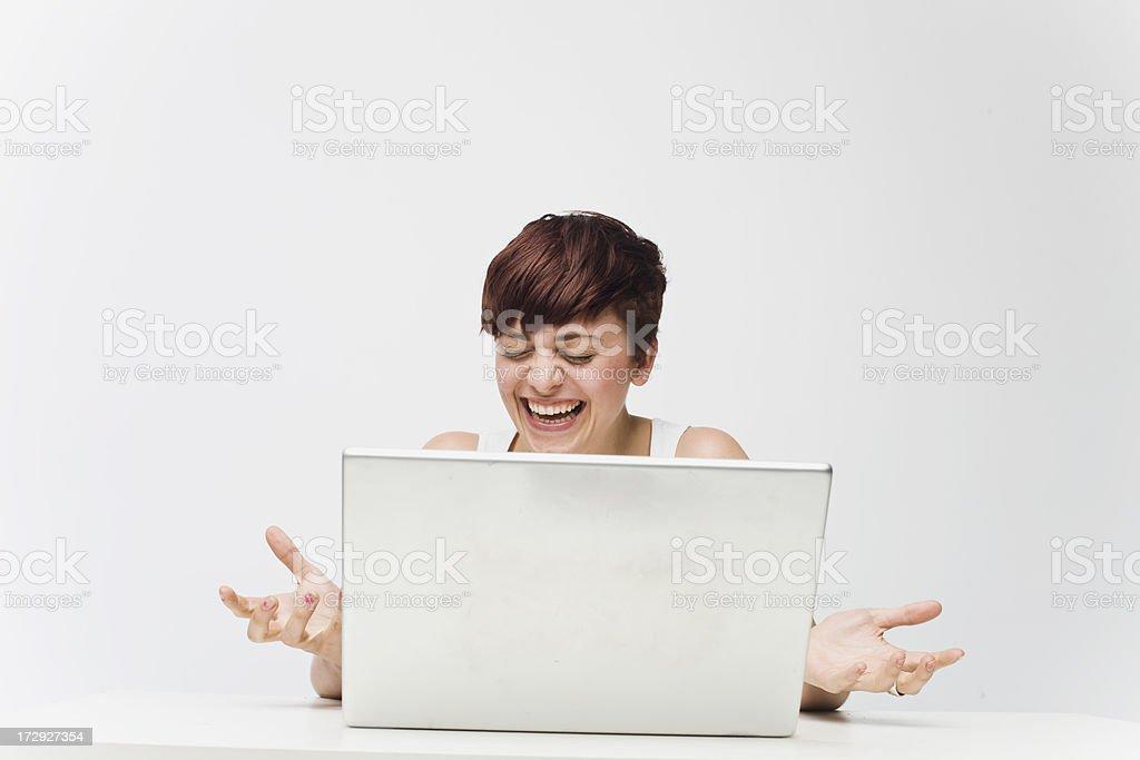 Laughing laptop royalty-free stock photo