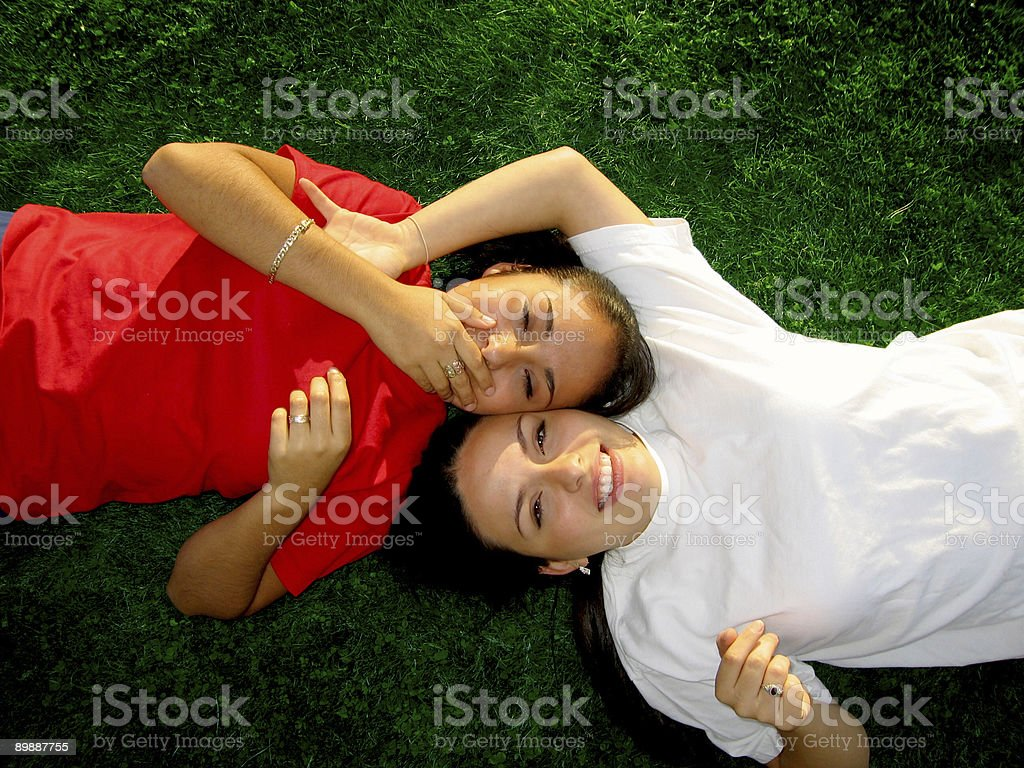 Laughing Latins on Lawn royalty-free stock photo