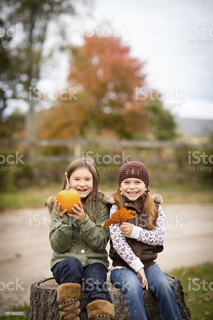 Laughing Little Sisters Holding Pumpkin and Autumn Leaf royalty-free stock photo