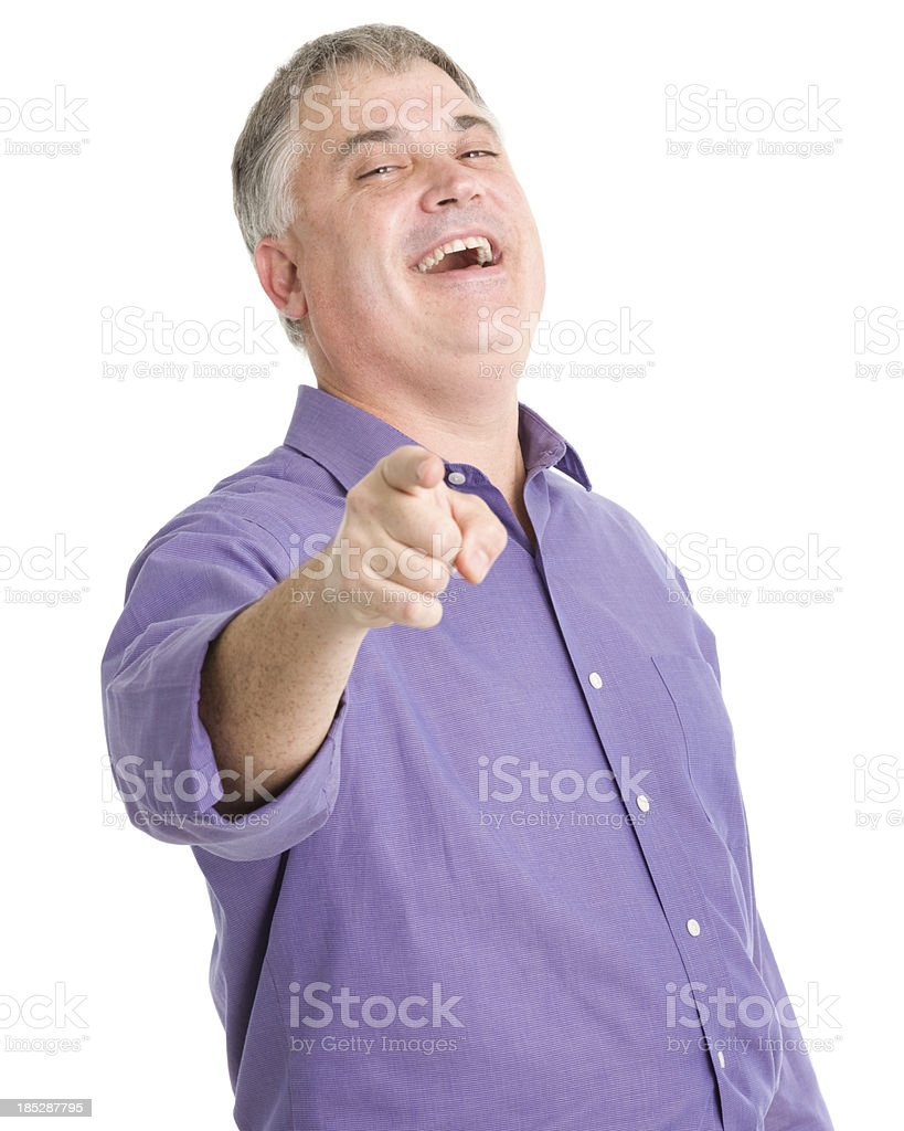 Laughing Man Pointing At Camera royalty-free stock photo