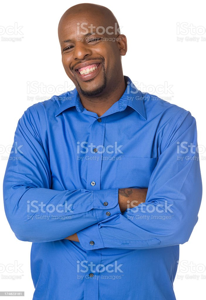 Laughing Man Waist Up Portrait royalty-free stock photo
