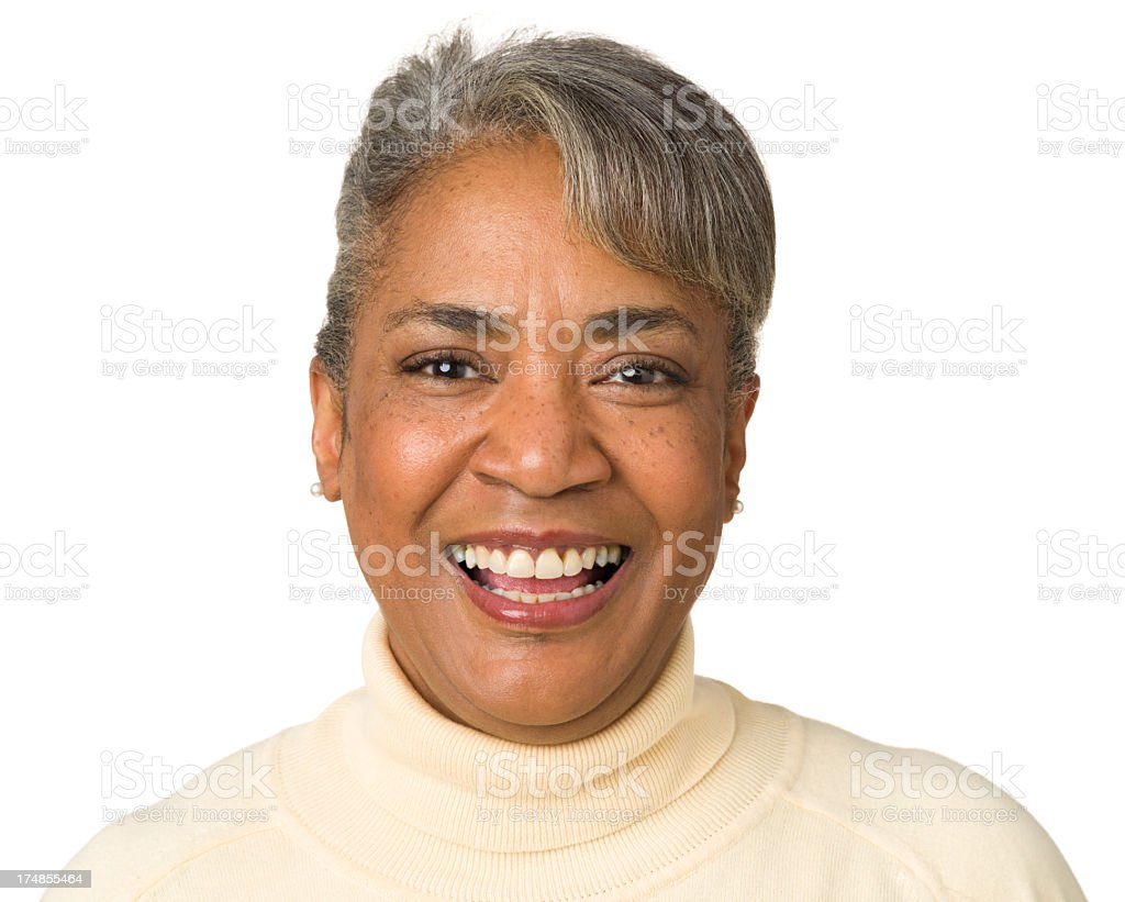 Laughing Mature Woman Close-Up Portrait royalty-free stock photo