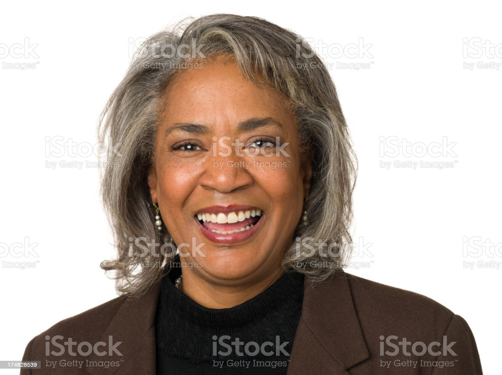 Laughing Mature Woman Head And Shoulders Portrait royalty-free stock photo