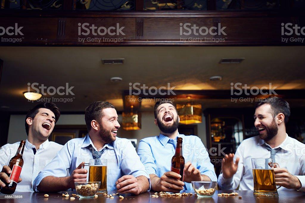 Laughing men stock photo