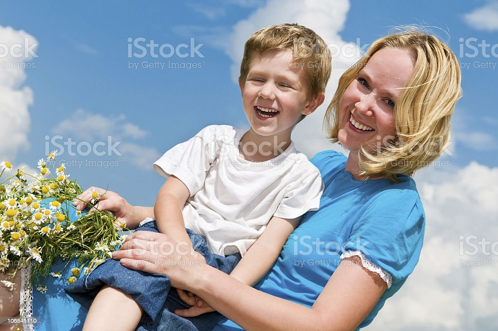 laughing mother and son royalty-free stock photo