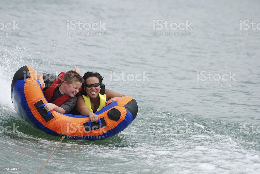 Laughing on the Inner Tube stock photo