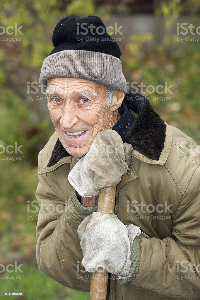 Laughing pensioner royalty-free stock photo