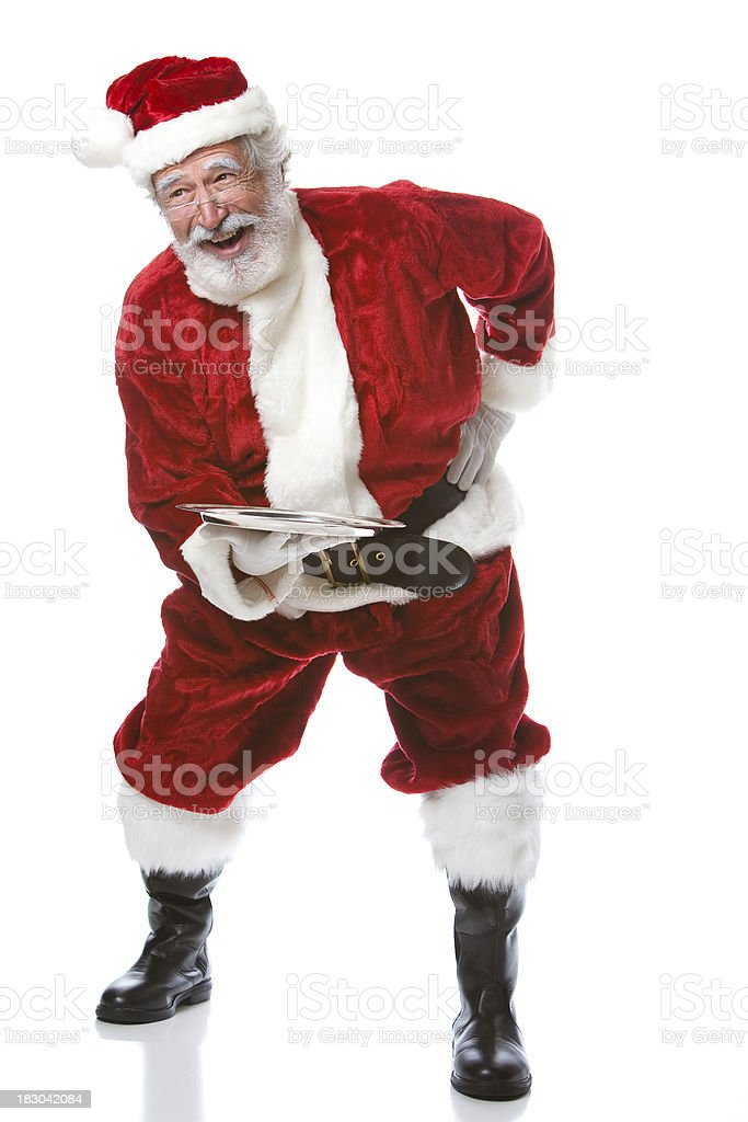 Laughing Santa Serves Your Product on a Silver Platter royalty-free stock photo