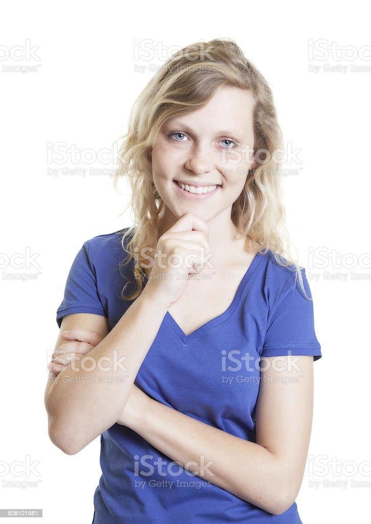 Laughing scandinavian woman in a blue shirt stock photo