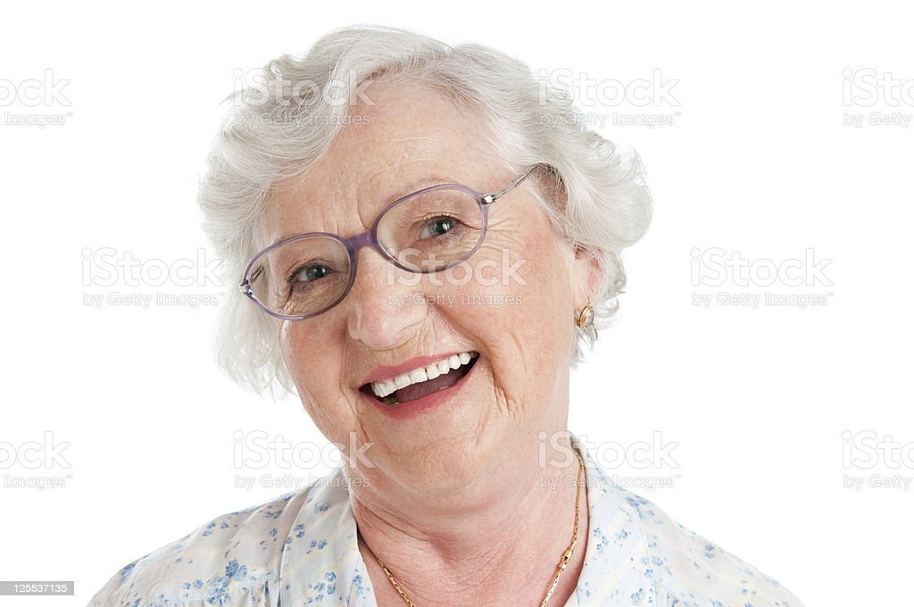 Laughing smiling aged woman stock photo