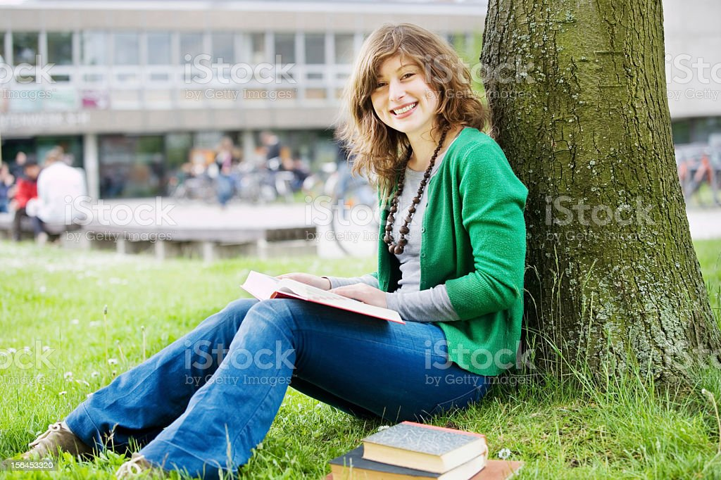 Laughing student stock photo