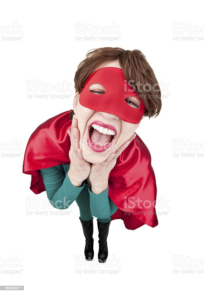 Laughing Superhero Woman stock photo
