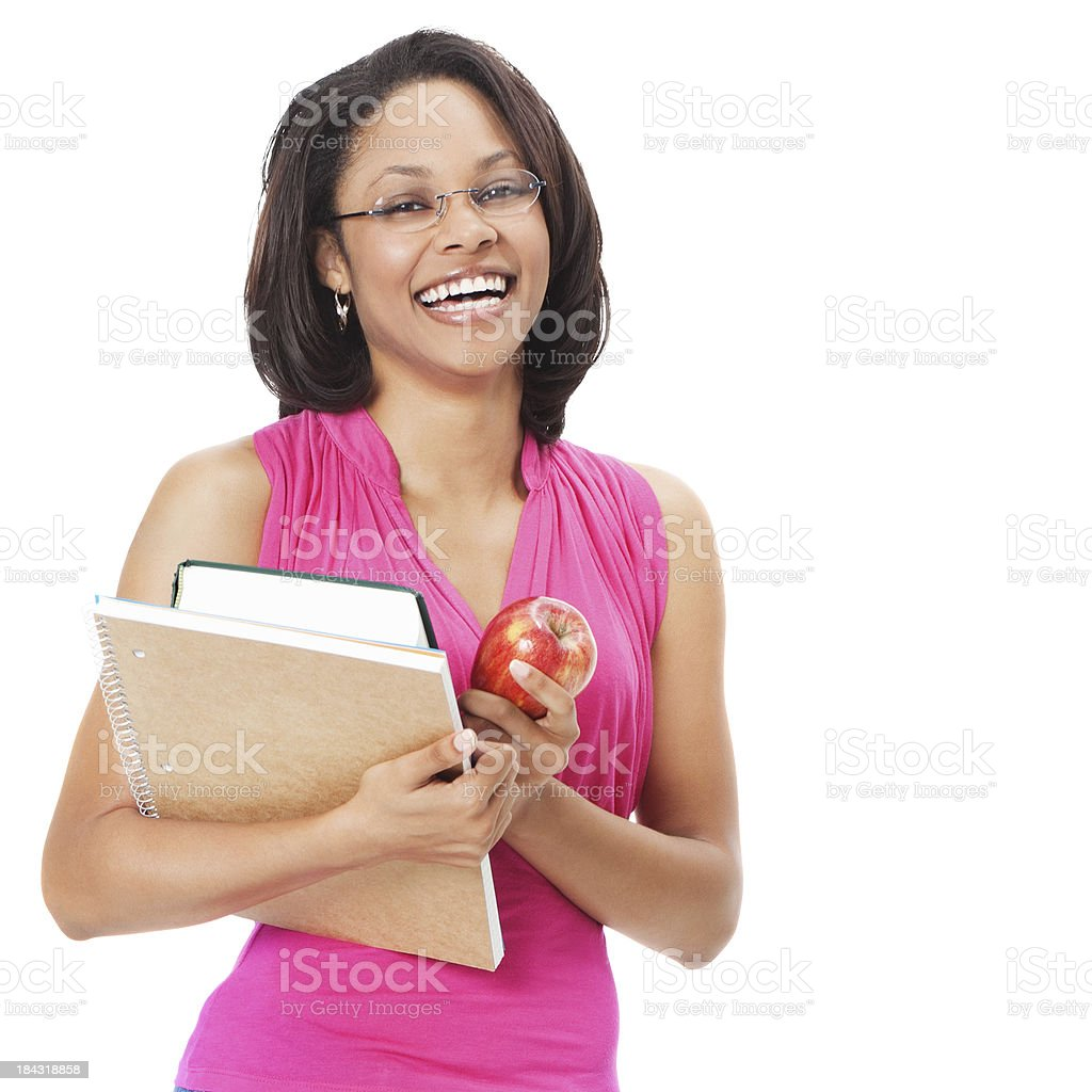 Laughing Teacher With Books and Apple, Isolated on white background stock photo