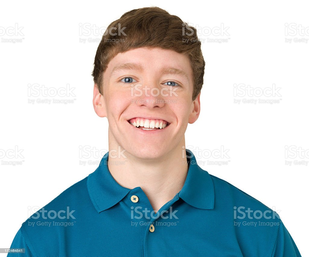 Laughing Teenage Boy Close-up Portrait royalty-free stock photo