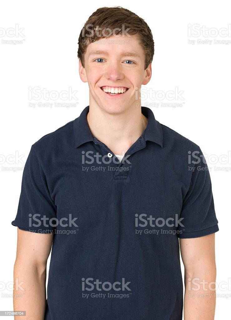 Laughing Teenage Boy, Waist-Up Portrait stock photo