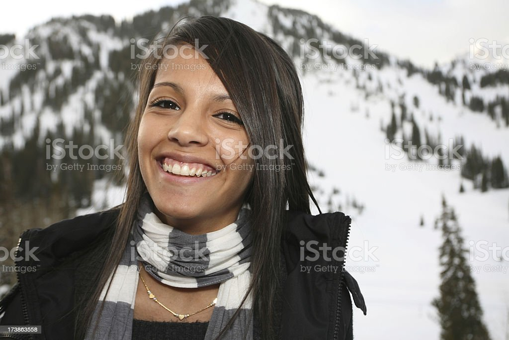 Laughing Teenage Girl in the Mountains royalty-free stock photo