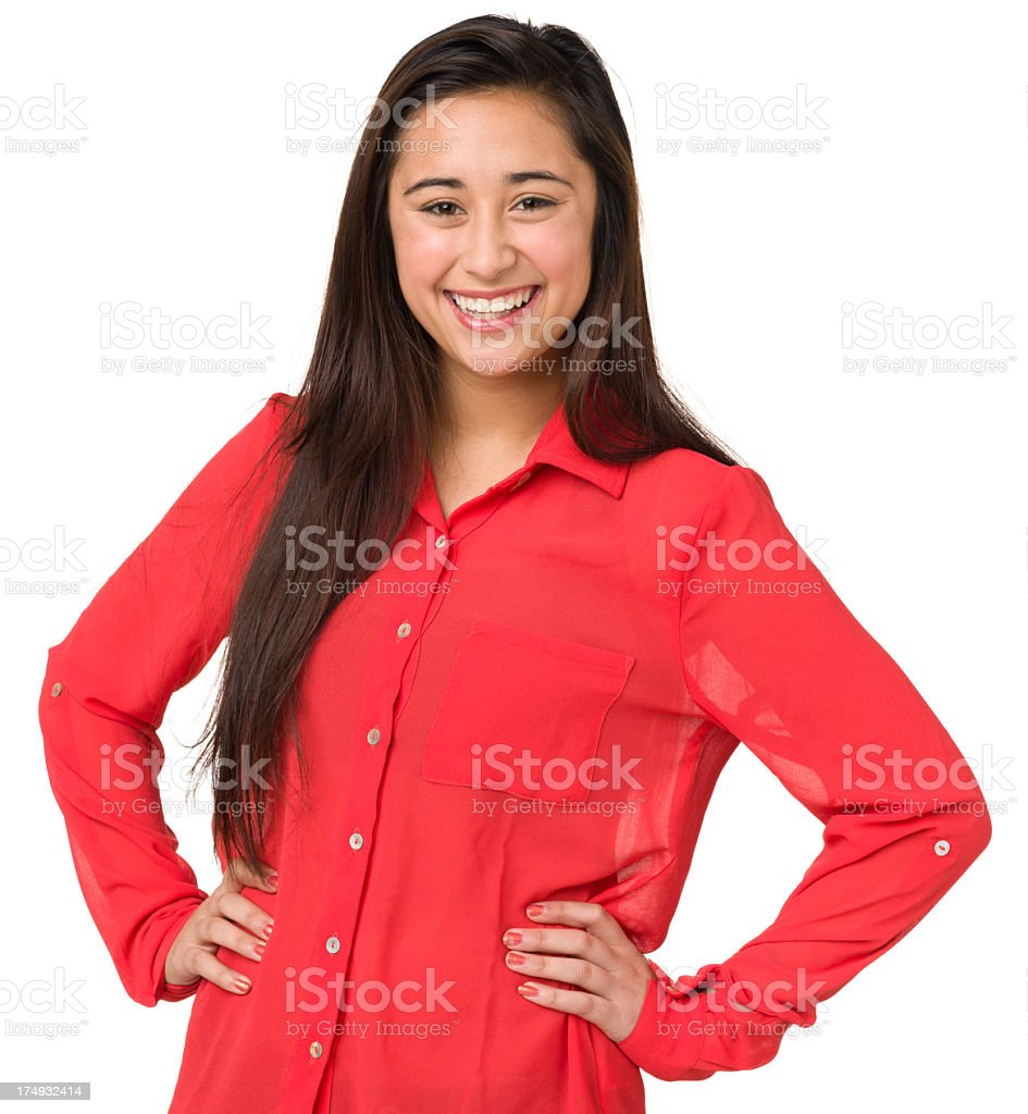 Laughing Teenage Girl Posing With Hands On Hips royalty-free stock photo
