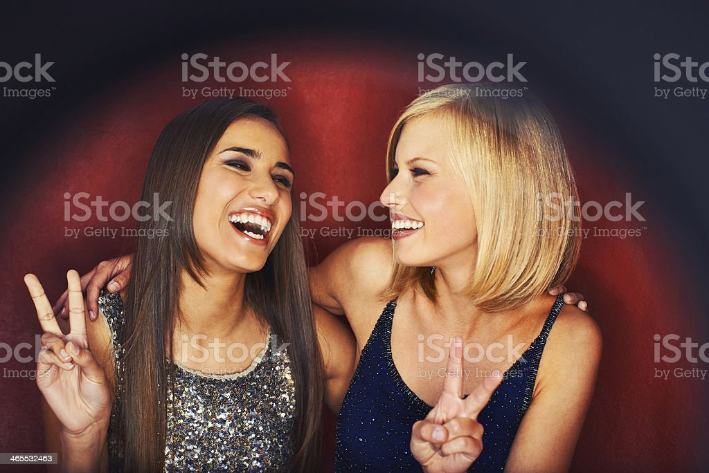 Laughing the night away stock photo