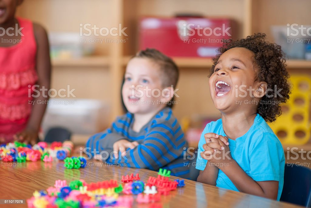 Laughing Together in Class stock photo